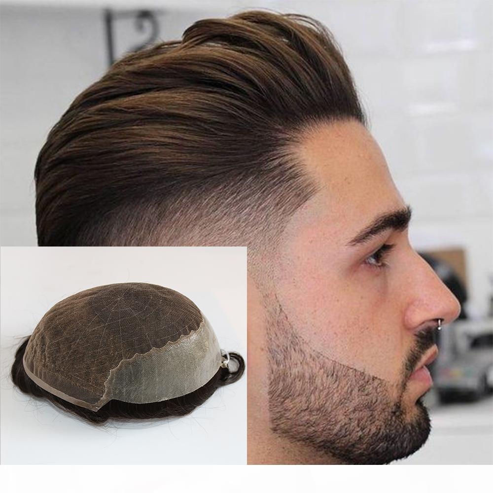 Cabelo Humano Durable substituição Hairpieces Lace Fino PU Sistema For Men Postiços cabelo humano durável Hairpieces Lace PU