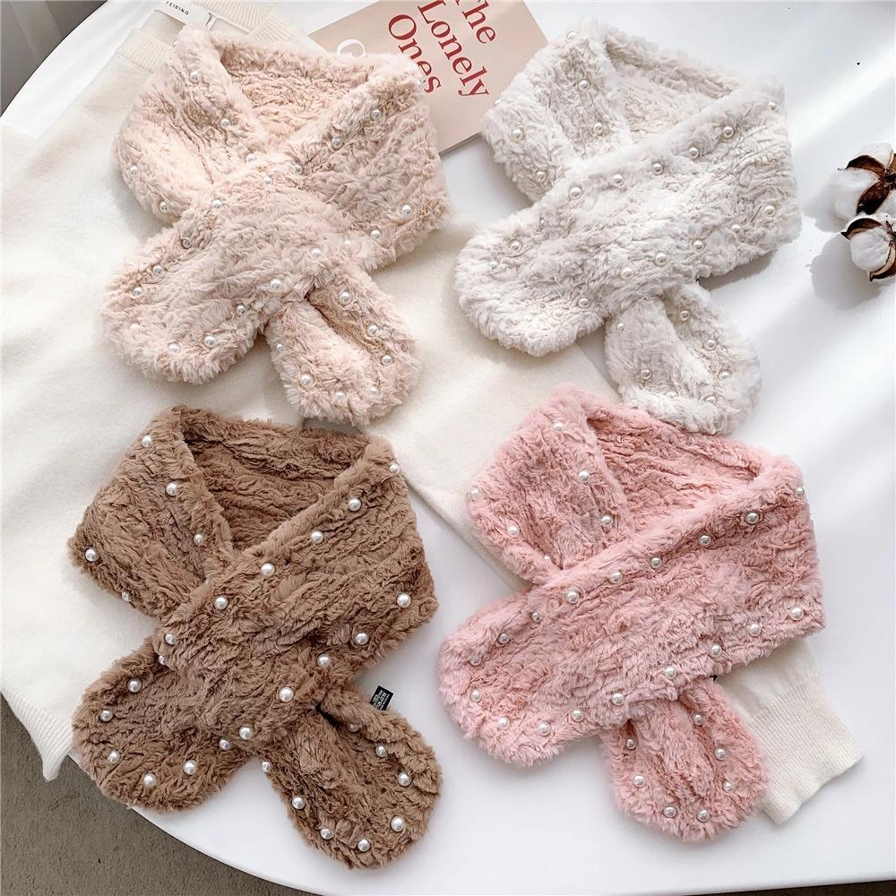 2020 Nuevo invierno de las señoras collar de perlas de las bufandas de moda felpa bufanda de las mujeres de imitación de piel de Corea caliente lindo Ins Stondents bufandas