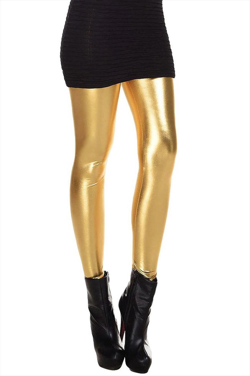 Womens tozluklar Metalik Islak bak Sıvı Tozluklar Parlak Stretch Kadınlar Kalem Pantolon altın Drop Shipping İyi Kalite
