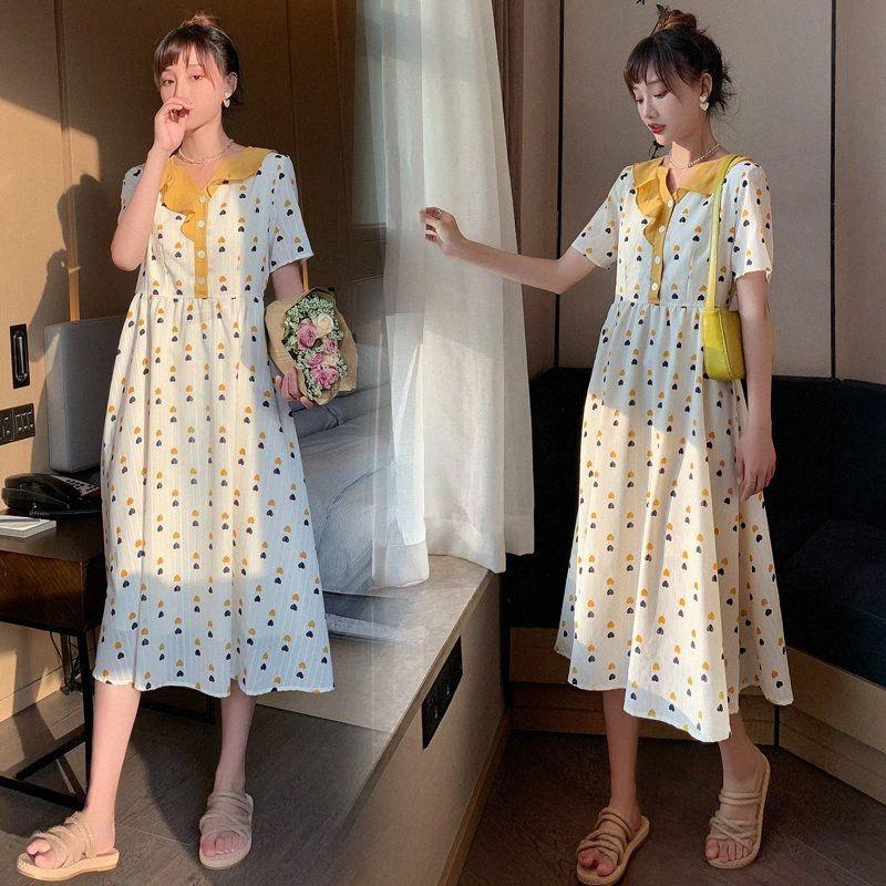0812# Maternity Dress Summer Cotton Short Sleeve Loose Stylish French Dress for Pregnant Women Mom Jrvl#