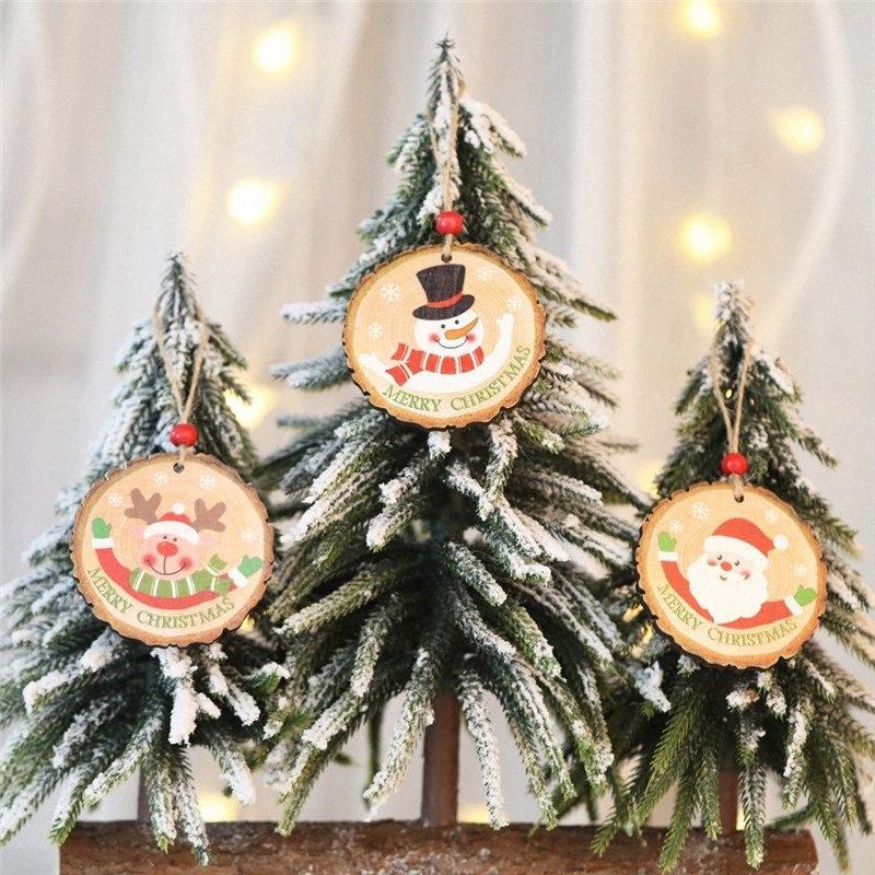 1 pz 8 cm fette di legno predrillate dischi di tronchi rotondi pronti fai da te festa di Natale appese decorazioni con spago juta h7sz #