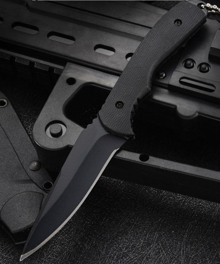 Top Quality 7223 Survival Couteau droit 7Cr17MOV Black Blade Noire Plein Tang Collier Couteille avec Kydex