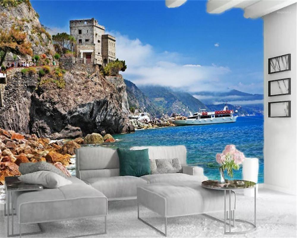 3D обои пользовательские фото роспись белая яхта европейский красивый морской пейзаж крытый телевизор фон украшения стены обои1