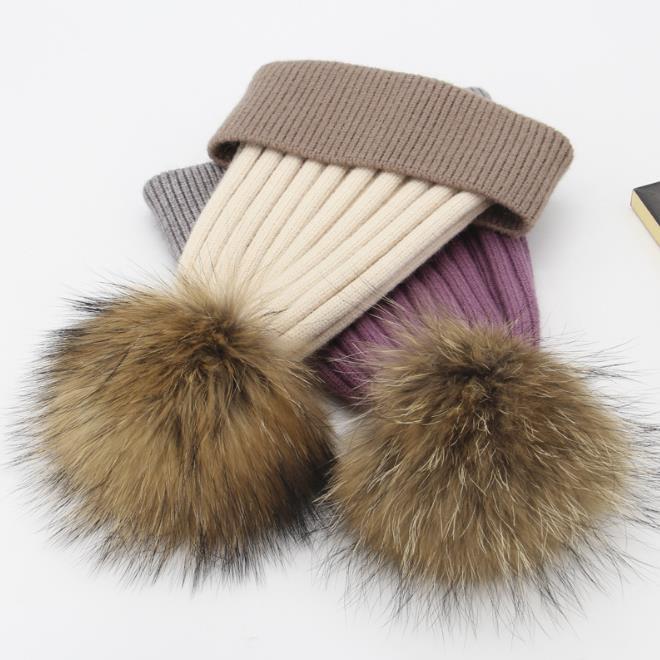 Mulheres Mulheres Gorros Bonés Chapéu De Chapéu de Chapéu de Tricô Chapéu Senhoras Beanie Tampão Para As Mulheres Beanie Quente Com Fox Fur Pompom Ball Caps