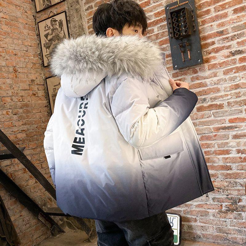 Mimi abajo chaqueta masculina han edición engrosamiento gradiente pop popular INSEAJE EL NUEVO PELO DE INVIERNO PEQUEÑO COLVOR DE ABOQUE Cuello