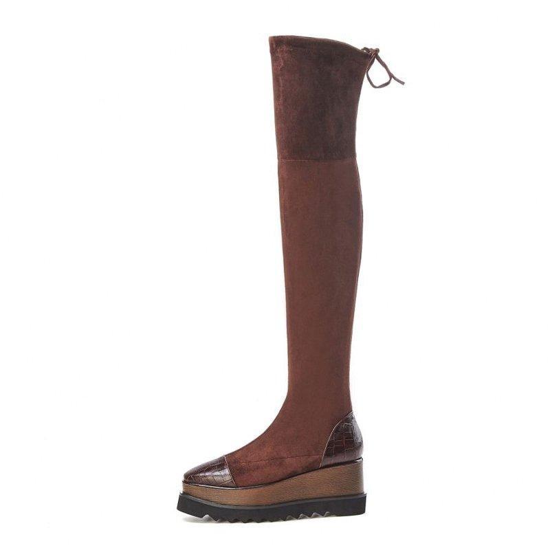 Las mujeres de la venta caliente de alta del muslo botas de cuero genuino remiendo de estiramiento Calzado mujer caliente de la caída de invierno plataforma de las cuñas Botas