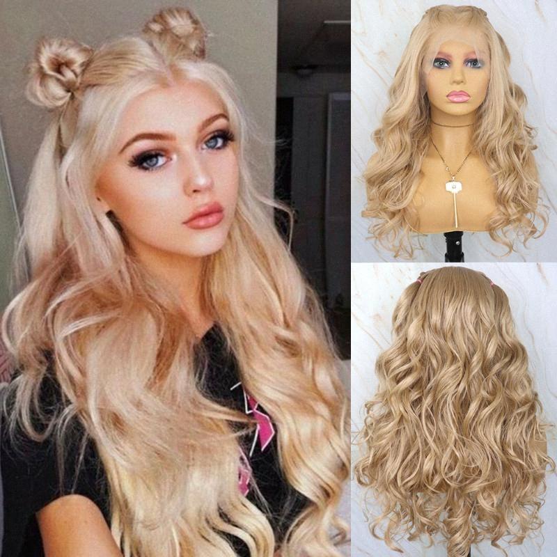 Bella Bionda Diario ondulati parrucca sintetica 13x6 Futura capelli merletto della parte anteriore parrucca sintetica termoresistente parrucca per le donne DjCx Black #