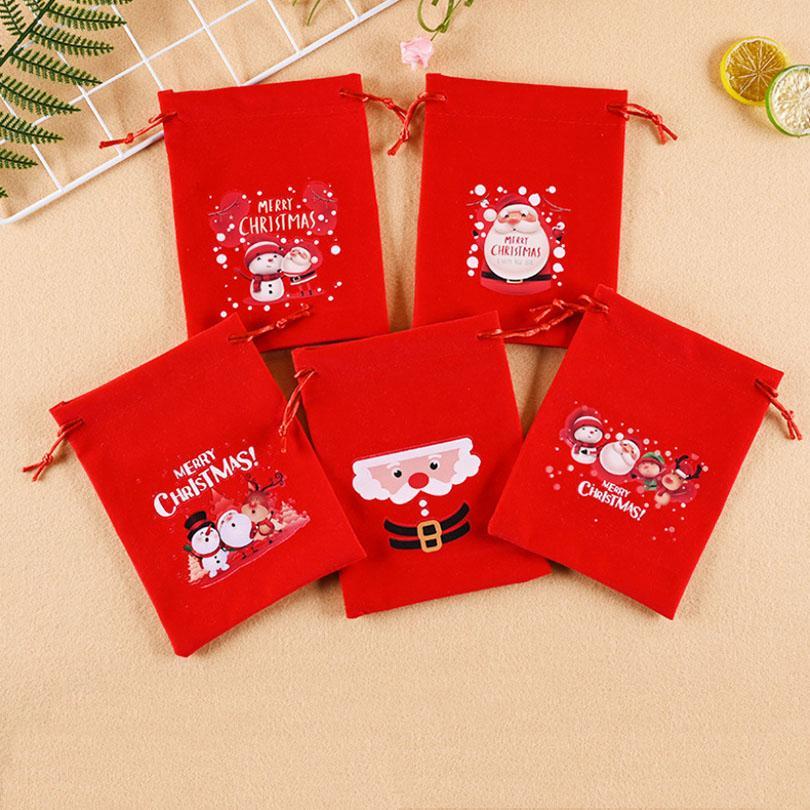 Красный Рождественский подарок сумка Drawstring мешок ткани Рождество кулиской конфеты сумки Новогодние украшения 15 * 20см 20 * 25см HH9-3564