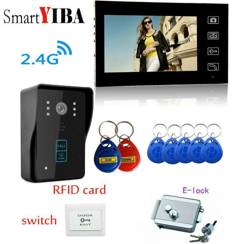 SmartYIBA video inalámbrico de intercomunicación puerta sistema de cámara de 7 pulgadas de 2,4 g cámara de seguridad inalámbrica tarjeta de identificación de sistema abierto