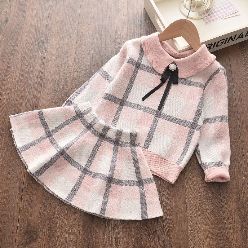 Menoea детей зимние костюмы Англии стиль свитер девушка плед шерстяные одежда рубашка юбки 2 шт. Детские осенние комплекты одежды 201126