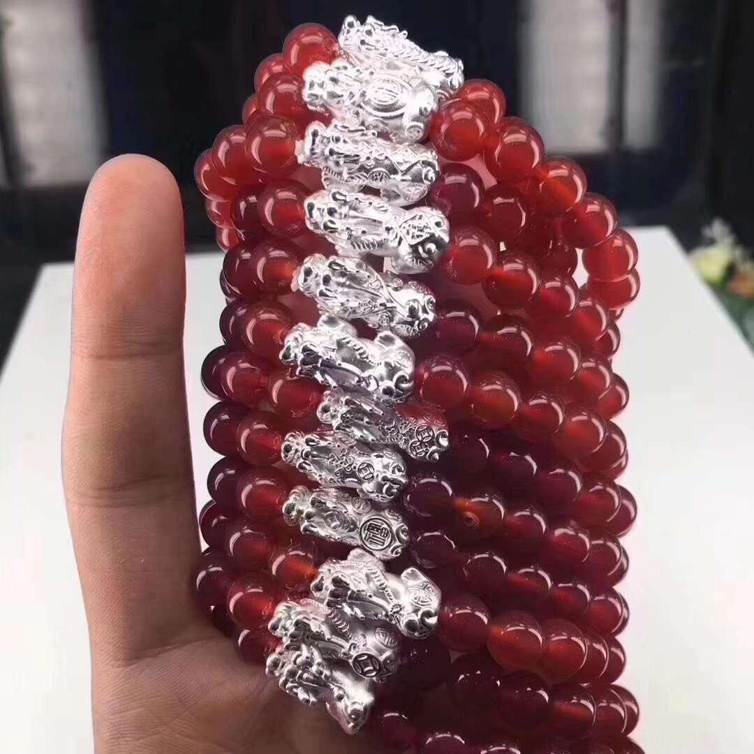 ZDlJo cordão de cristal Sterling 999 bracelete frisado braceletbracelet naturais Preto 3D Red Ágata Bead Cadeia mão contas de jóias de prata para os homens um