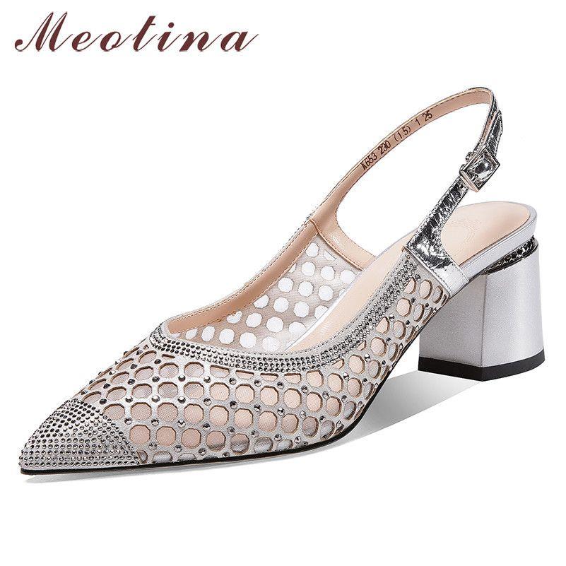 Donne pompe in vera pelle naturale tacchi alti tacchi alti slingbacks maglia ritaglio fibbia scarpe da donna taglia 39210