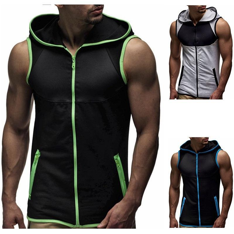 PADEGAO Männer Kapuzenpullover T-Shirt mit Reißverschluss Cardigan ärmellos Kapuze Tanktops lose beiläufige Fitness Weste Bodybuilding Stringer Tank-T-Shirt