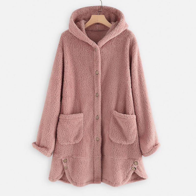 Women Plush Coat Jacket Fashion Women Warm Button Coat Fluffy Tops Female Hooded Jackets Plus Size Long Sleeve Pocket Top #1011