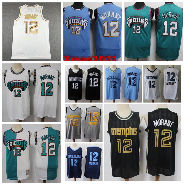 2021 mens 12 ja morant swingman basqueteball jersey shorts cidade memphiss edição autêntica costurada 12 ja morant jersey com logotipo real tags