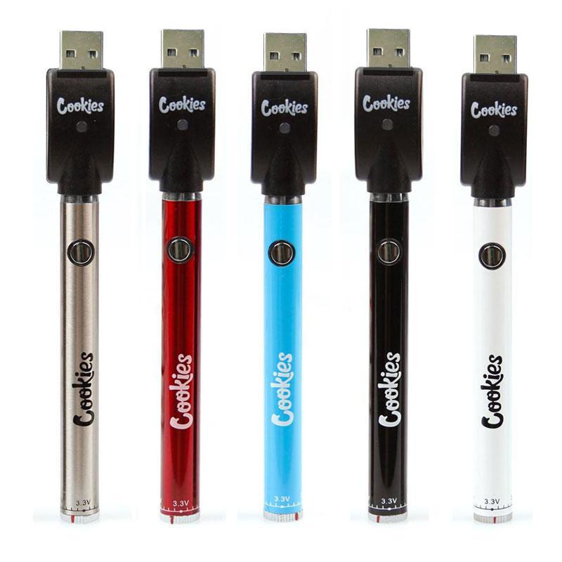 Cookies sf Slim Twist Batterie 350mAh Bottom Twist 3.3-4.8V Vorwärm VV Kalifornien Best Vape Batterie Stift für 510 Patronen DHL frei