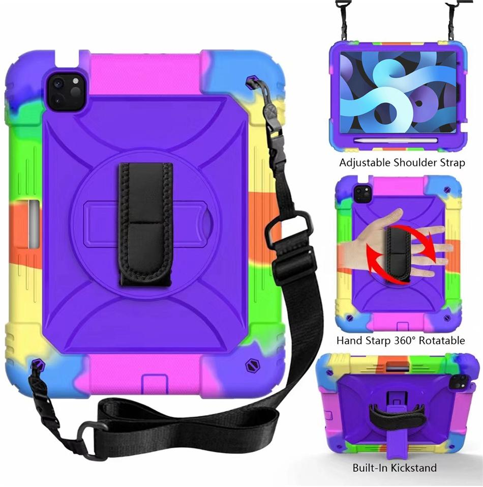 for iPad air 1 2 3 4 5 6 7 8 10.9 10.2 pro 11 10.5 Tab 10.1 8.4 5 T510 360 Rotating slicone Hybrid Shockproof case stand Shoulder strap