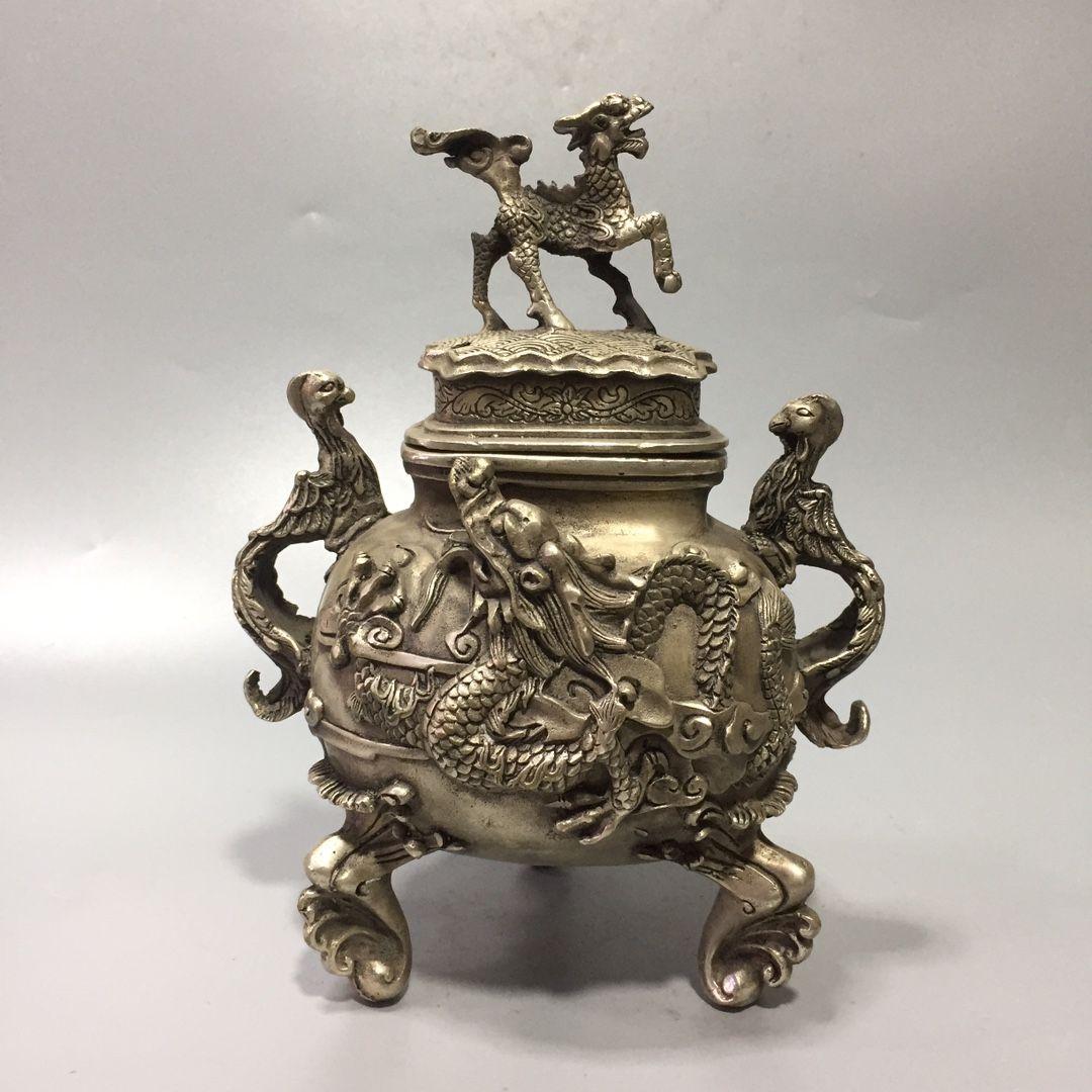Collection Folk Art Vintage Oriental Orient Old Chinois Tibétain Silver Sculpté à la main Kirin Dragon et Phoenix Statue Statue Encense Burner W Qianlong Mark