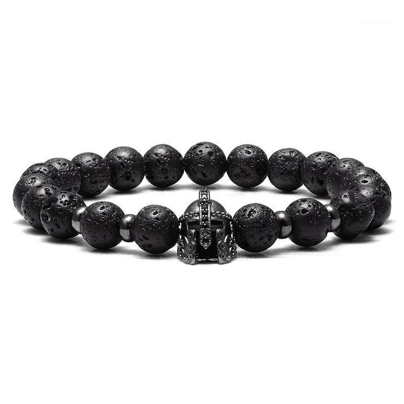 Beaded, Strands JAAFAR Fashion Men's Natural Stone Beads Bracelet Knight Roman Spartan Warrior Gladiator Helmet Yoga Elastic1