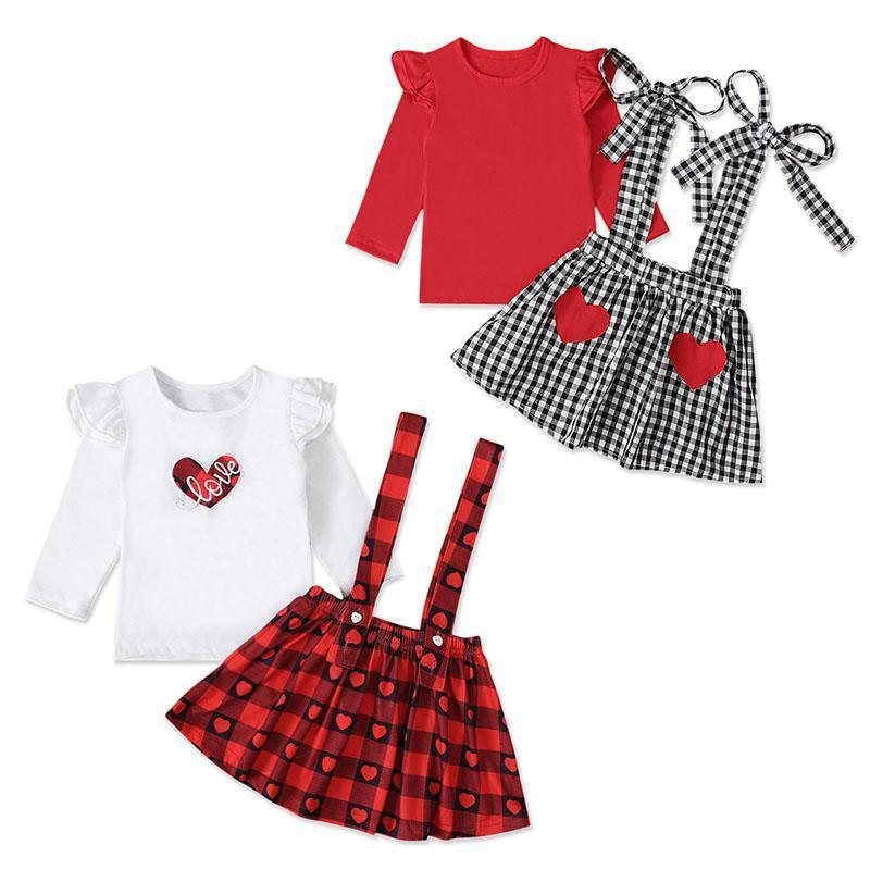 Valentine Outfit Kid Girl Abbigliamento Abbigliamento Set manica lunga camicia gonna a maniche lunghe 2pcs carino bambino amore cuore bambini ragazze in abbigliamento boutique plaid vestiti