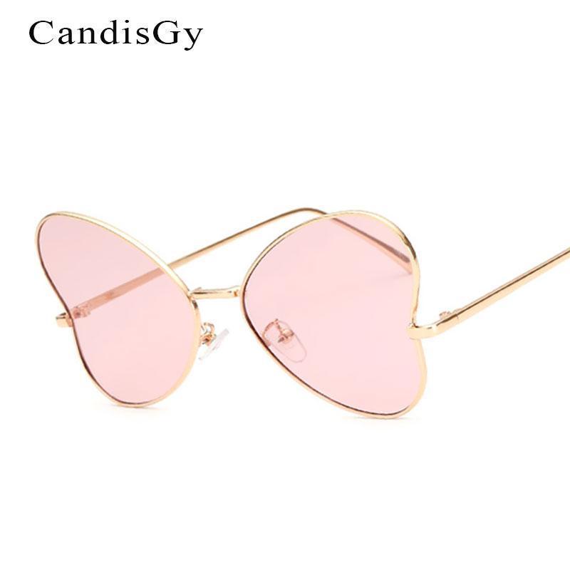 Солнцезащитные очки Симпатичные Сердце Прозрачные Линзы Женщины Бренд Дизайнер Леди Женская Солнцезащитные Очки UV400 Металлическая рамка