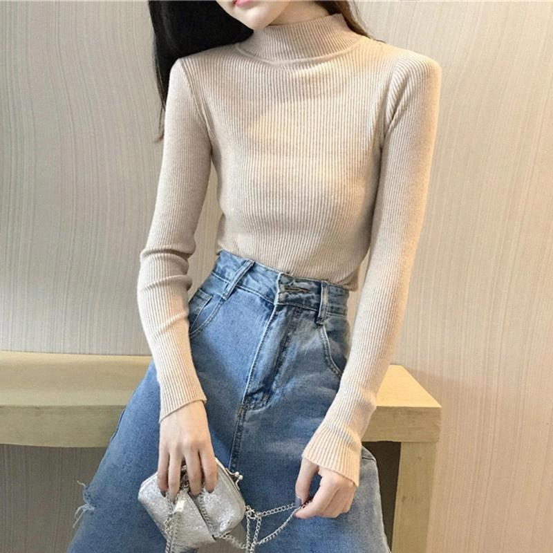 AOSSVIAO Autumn Winter Turtleneck Slim Sweater Pullover Women 2020 Elegant Female Knitted Top Basic Sweaters Pull Femme #5W5L