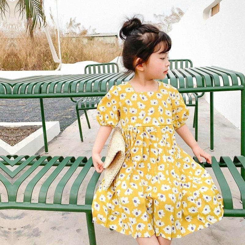 Verano linda niñas margarita manga corta vestido plisado estilo coreano algodón casual 2 colores vestidos largos IHDE #