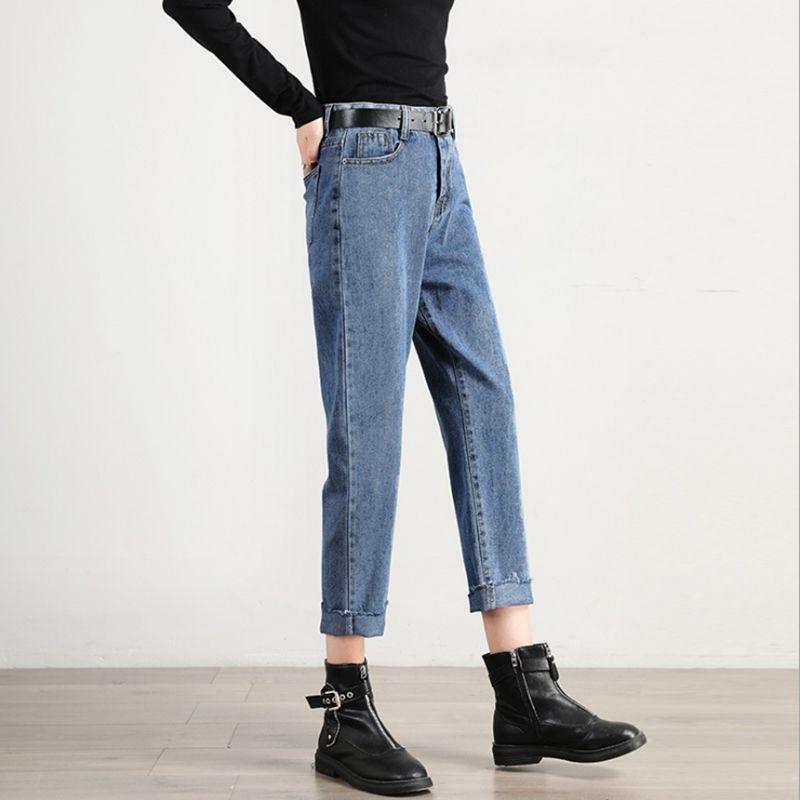 Jeans da donna Casual Straight High Vita a vita alta Pantaloni Blu senza cintura N0001