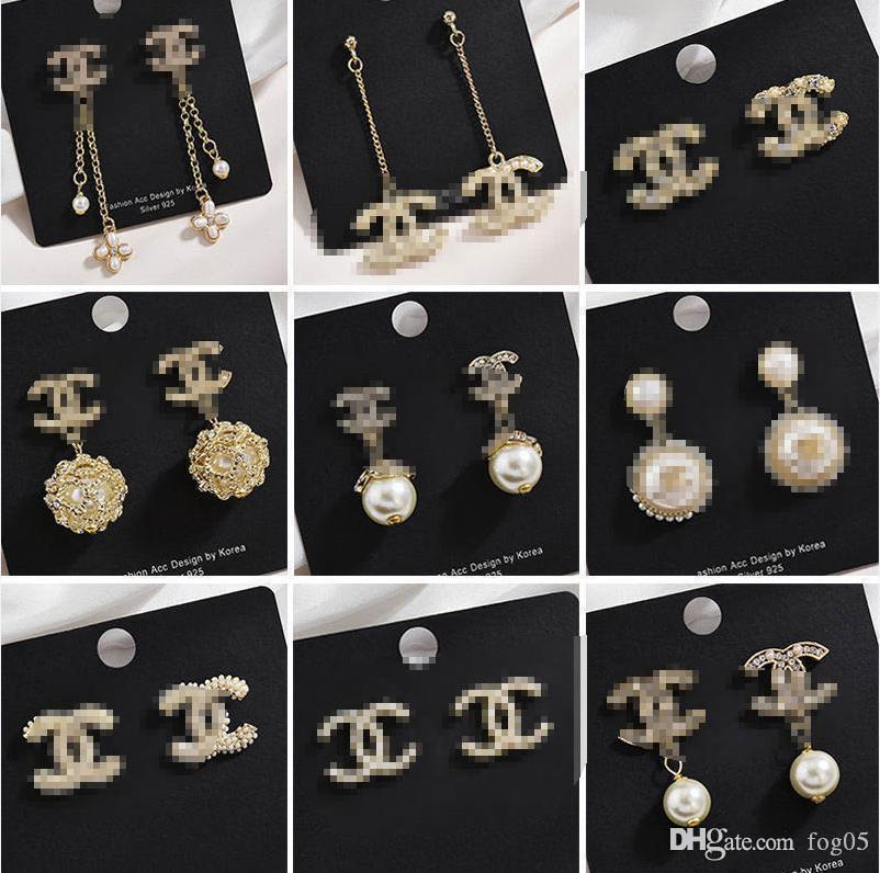 I nuovi modelli esplosione orecchini tendenza strass di lusso orecchini di colore moda personalità Super Flash diamante lettera E1
