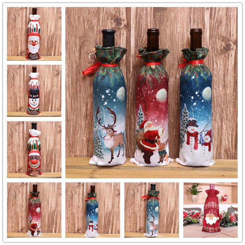 11Styles decoraciones de Navidad para Botella Inicio arpillera bordado ángel del muñeco de vino cover set de regalo de Navidad Bolsa Saco de Santa