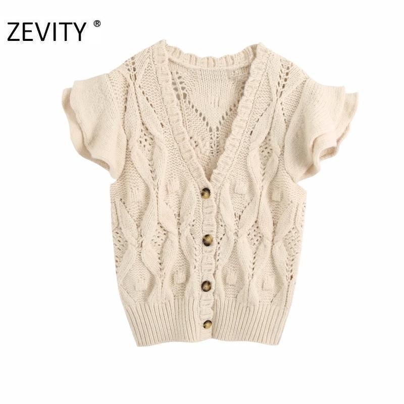 Zevity Nuove Donne Fashion V Collo a V Collo farfalla manica Twist Knitting Casual Slim Femmina Femmina Scava fuori Breasted Maglione Top S373