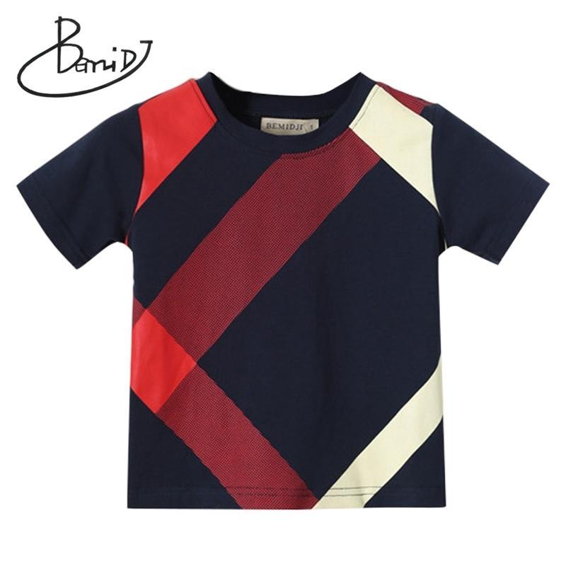 Bemidj Boys Tops Verão Roupas O-pescoço Manga Curta Algodão Europeu e Americano Estilo Meninos Camiseta T-shirt das Crianças Marca Y200409