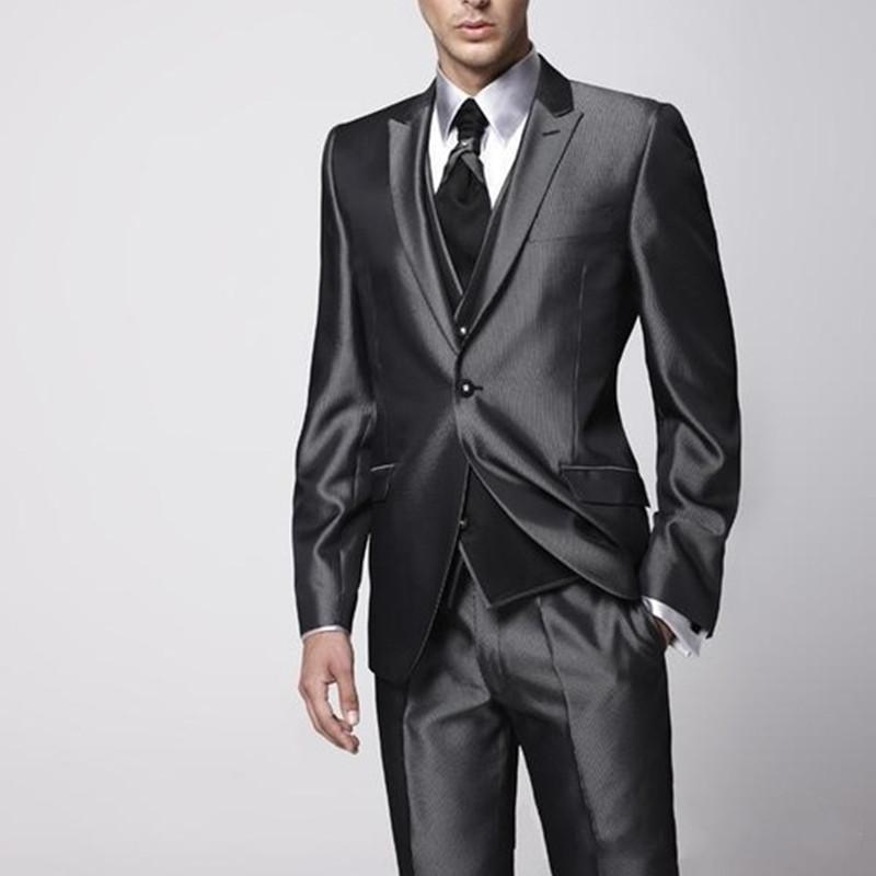 Nero brillante solo pulsante vestito di affari degli uomini (coat + vest + pants) vestito sottile personalizzati vestito di affari degli uomini