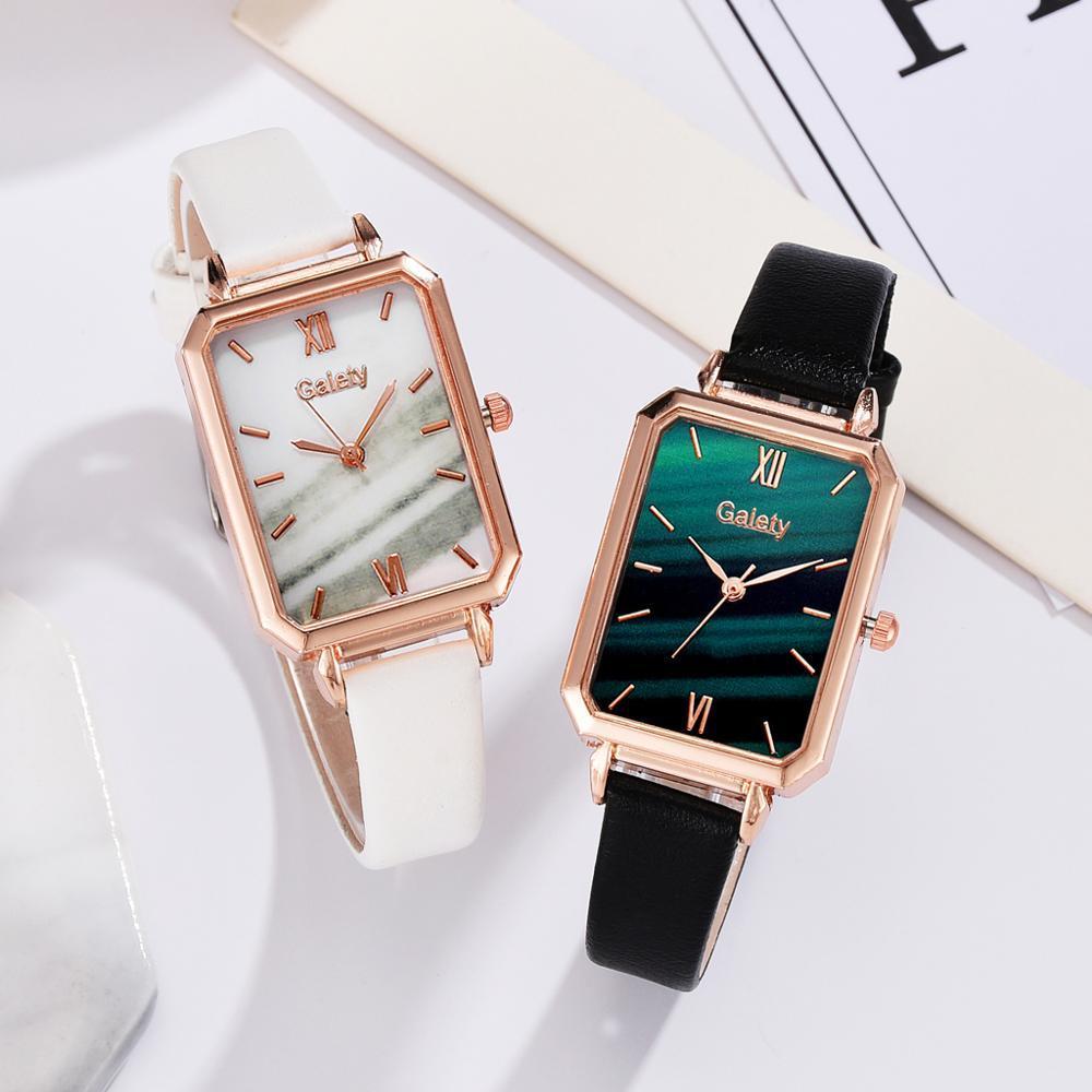 Lüks Zarif Kadın Deri Kayış Saatler Moda Bayanlar Kuvars Bilek Saatler 2 adet Set Kadınlar Iş Saati Drop Shipping Reloj Mujer Fashi