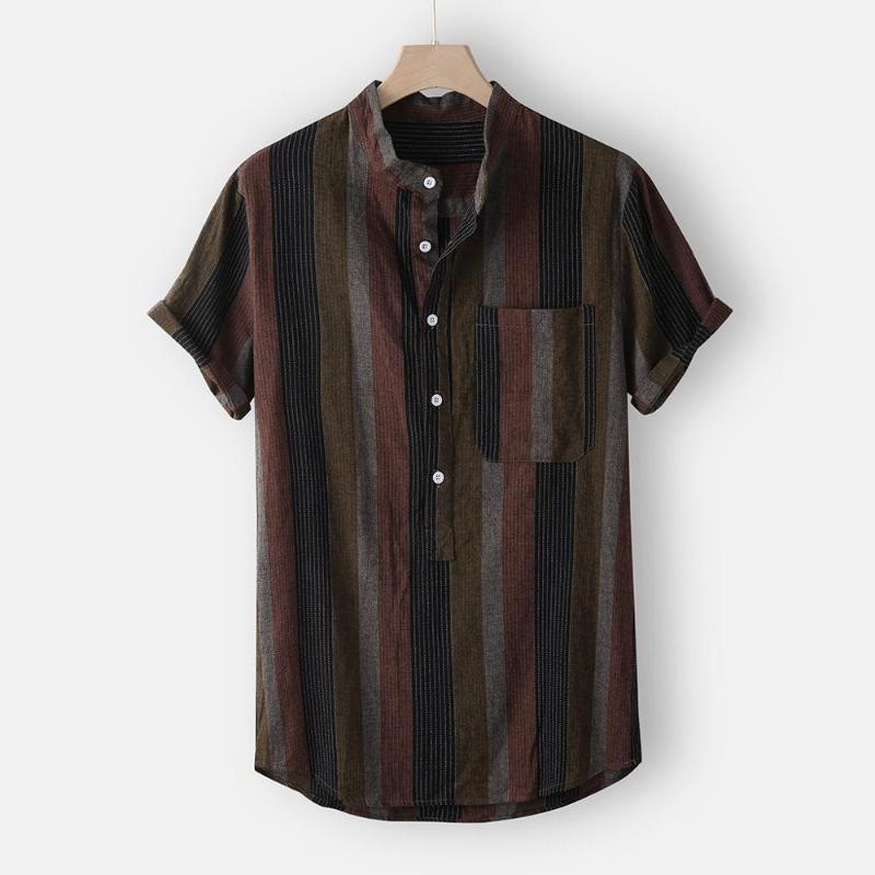 Erkek gömlekleri Yaka Şerit Gevşek Bluz Üst camisa masculina yazdır Standı streetwear Casual kısa kollu gömlek erkekler kombinezonlar