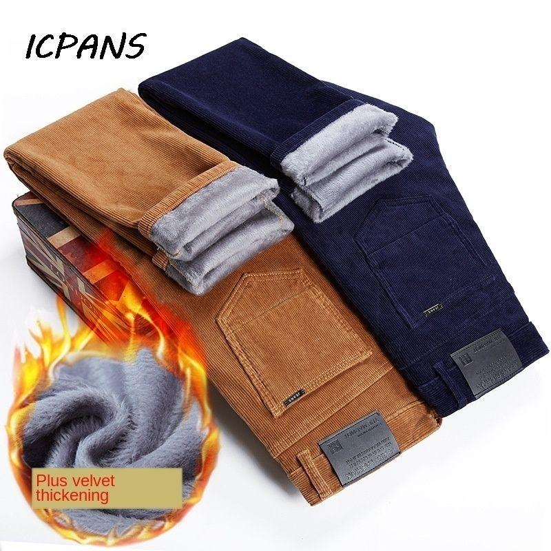 ICPANS FLEECE VELVET CORDUROY Брюки сгущает теплые зимние брюки Мужчины прямые стройные повседневные брюки зима 201109