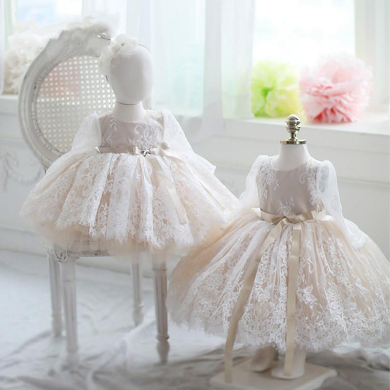 Dziewczyna Dresses Szampan Dziewczyna Sukienka Baptismal Dla Niemowląt Koronki Eleganckie Kwiat Dziewczyny Ślub Tutu Princess Party
