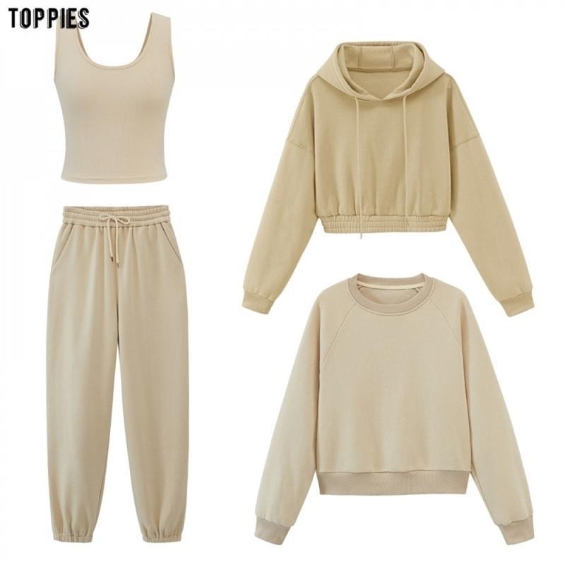 Toppies Womens Tracksuits с капюшоном Толстовки осени осень зимний флис негабаритные толстовки сплошные цветные куртки 201109