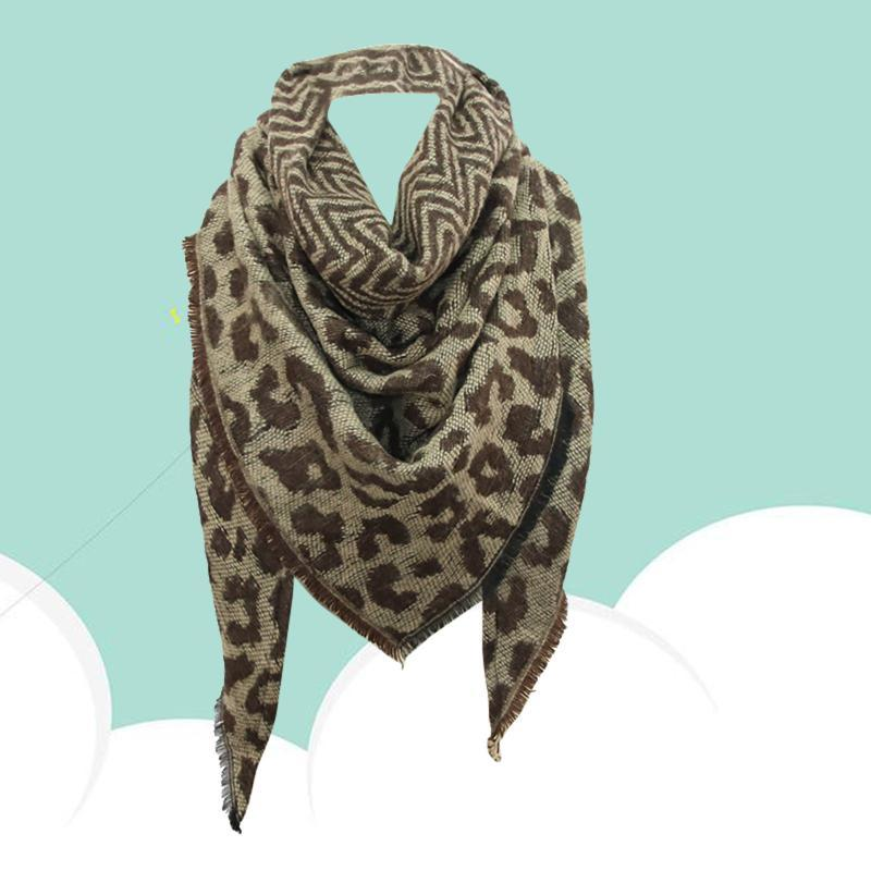 Шарфы женские леопардовые печать имитация кашемировые одеяло шали и обертки мягкий длинный шарф 140x140x190см