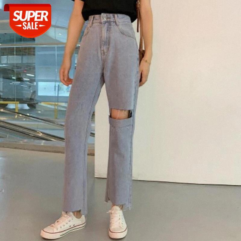 Дизайнер женщина джинсы высокая талия разорванные джинсы 2021 весна лето для одежды широкая нога джинсовая одежда синяя уличная одежда мода старинные PA # SR2O