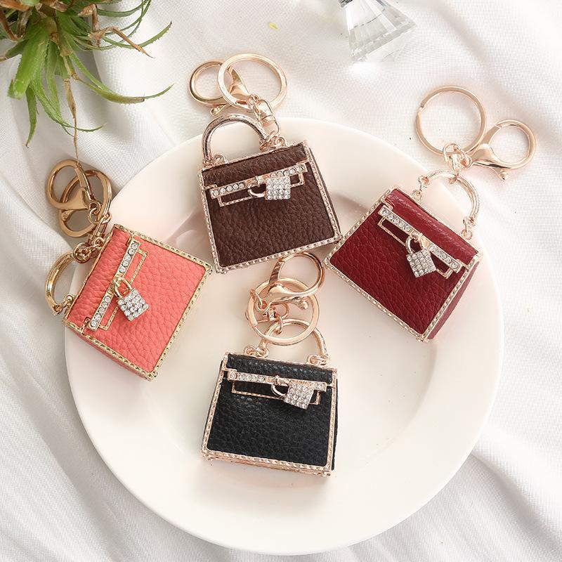 Precioso bolso de bricolaje Keychain de cristal llavero para mujer fiesta regalo bolso bolso bolso bolso hebilla colgante llavero anillo