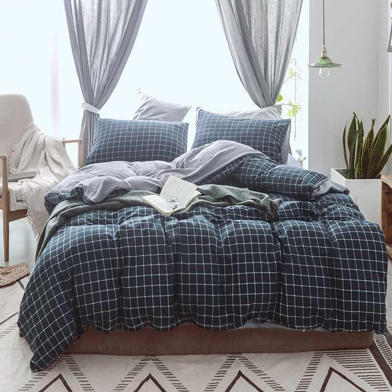 Choiceness Plaid Set cama gêmea Rainha King Size Lençois Preto azul dos desenhos animados capa de edredão Set Folha bonito Bed Crianças Cama