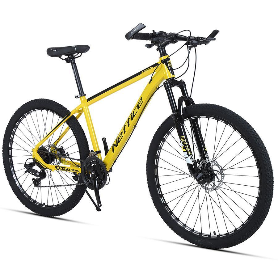 27,5 pouces 24 vitesses Mens de montagne Vélo de montagne Cadre en aluminium Freins à double disque avec outils de réparation gratuits Pompes Bicyclettes pour adultes