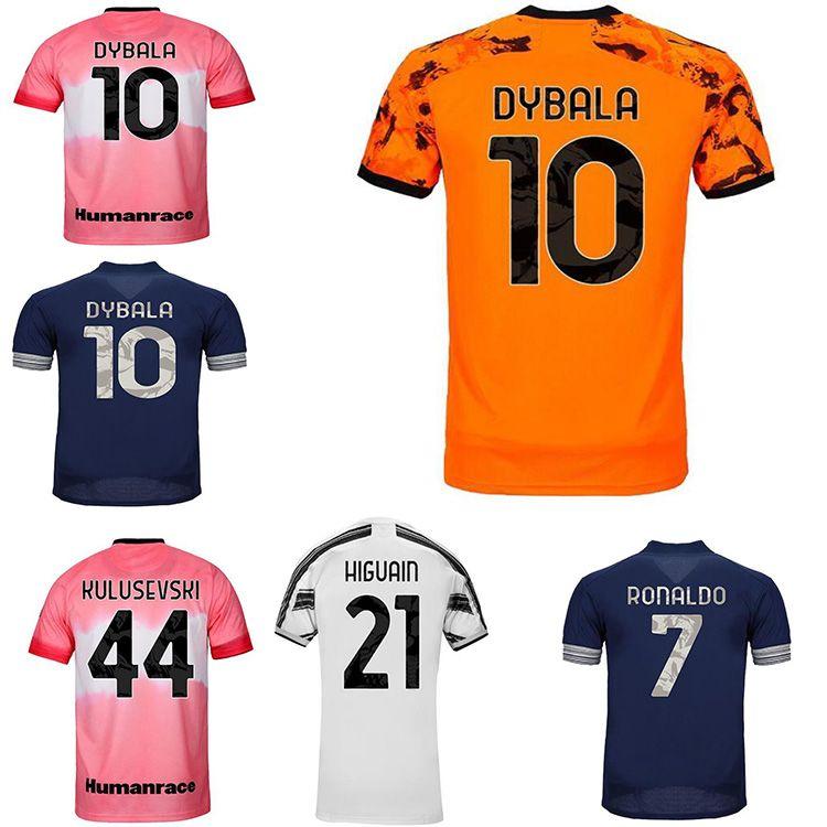 Top Quality 2020 2021 Chemise de football en jersey de football 4ème Ronaldo de Ligt Morata 20 21 Dyala Ramsey Homme Humanrace