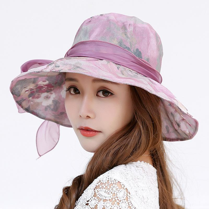 2021 Fashion Fall Ladies Hats Women Sun Hat Bowknot Wide Brim Floral Print Mesh Anti-uv Sunproof Outdoor Casual Travel