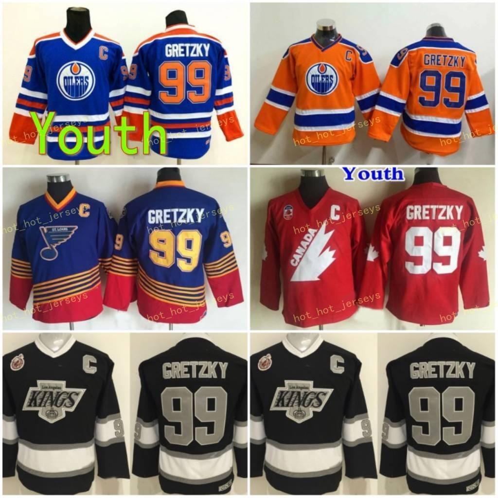 청소년 로스 앤젤레스 킹스 11 anze kopitar 32 Jonathan Quick 8 Drew Doughty Jersey Kids 99 Wayne Gretzky Vintage CCM Hockey Jersey