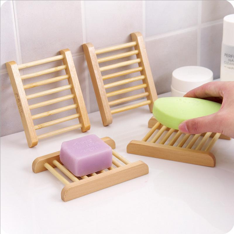 Soap Dishes Wooden Tray Holder Creative Storage Soap Rack Plate Box Container For Bath Shower Bathroom Supplies