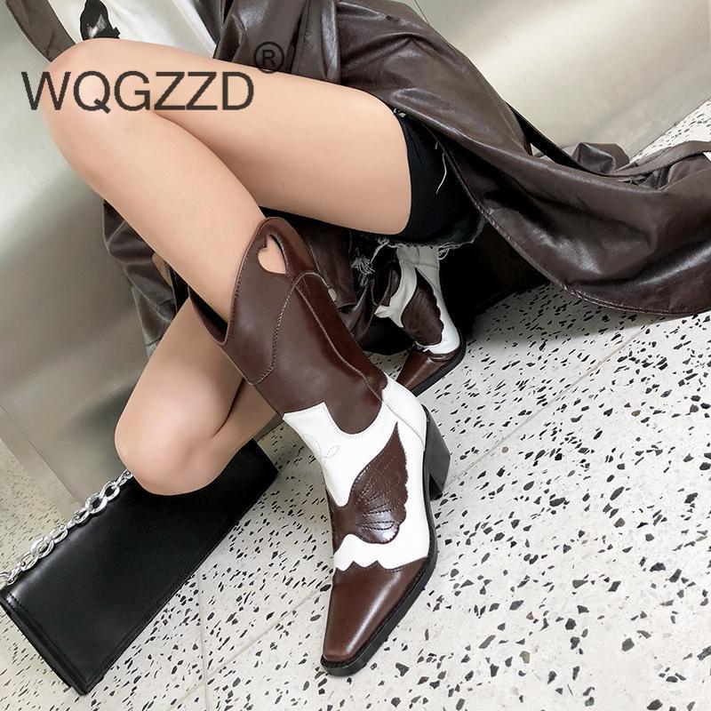 botas altas de las mujeres nuevos zapatos de invierno de cuero de vaca de color de moda de diseño mixto botas de montar de la mujer Knight MUJER