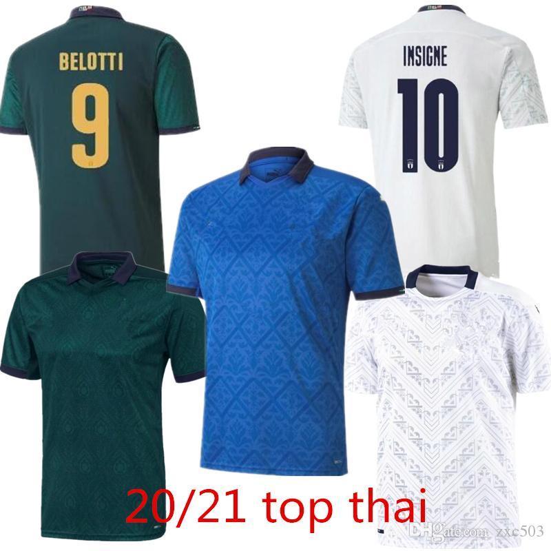 2021 İtalya Futbol Jersey Insigne Bernardeschi Futbol Gömlek Chiellini Bonucci Belotti Jorginho Sensi Barella Üst Thiland Erkekler ve Çocuk Kitleri Üniforma