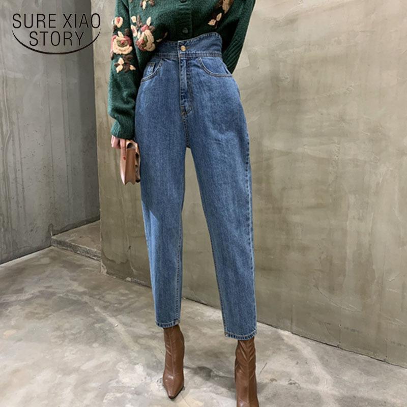 Женские гарем джинсы брюки мода высокая талия свободные белые джинсовые джинсы женские кнопки брюки весна новая уличная одежда панталон 10822 210222